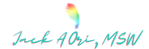 Jack A Ori MSW logo - transparent background with rainbow colored feather and blue cursive writing